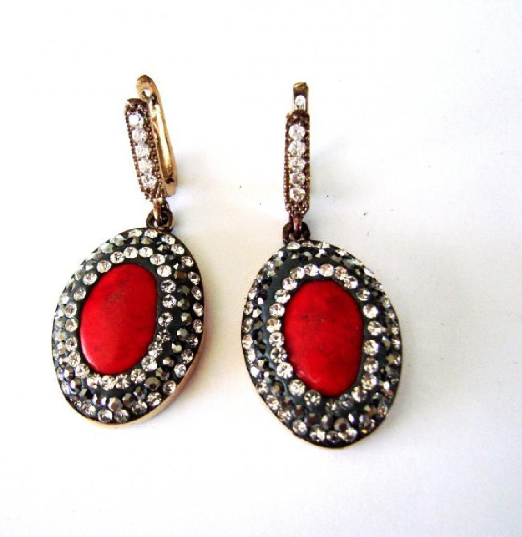 Natural Coral Earrings 24.95Ct 18k Two Tone Overlay - 2