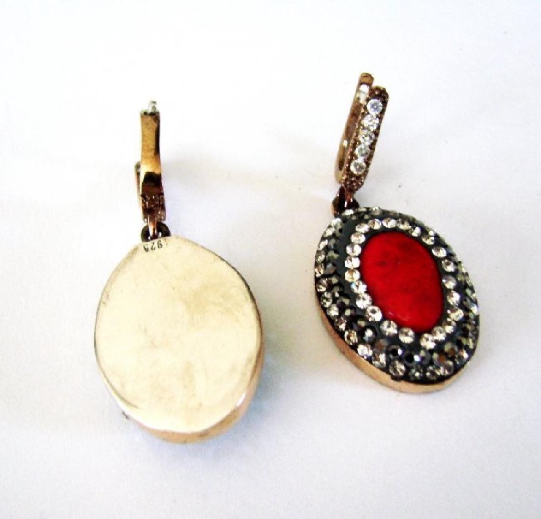 Natural Coral Earrings 24.95Ct 18k Two Tone Overlay - 3