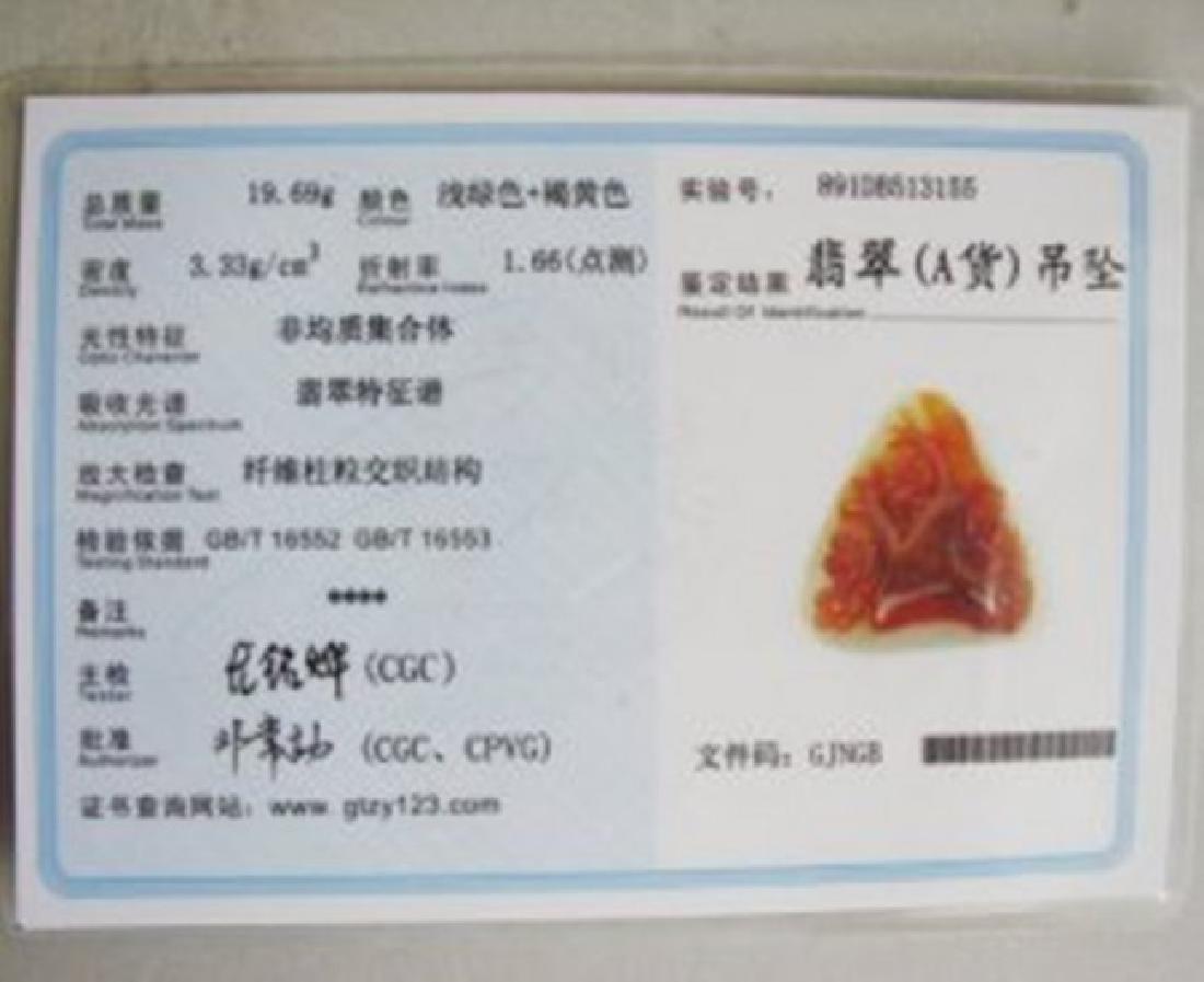 "Natural Carved Jade Pendant Grade: ""A"" Certification - 4"