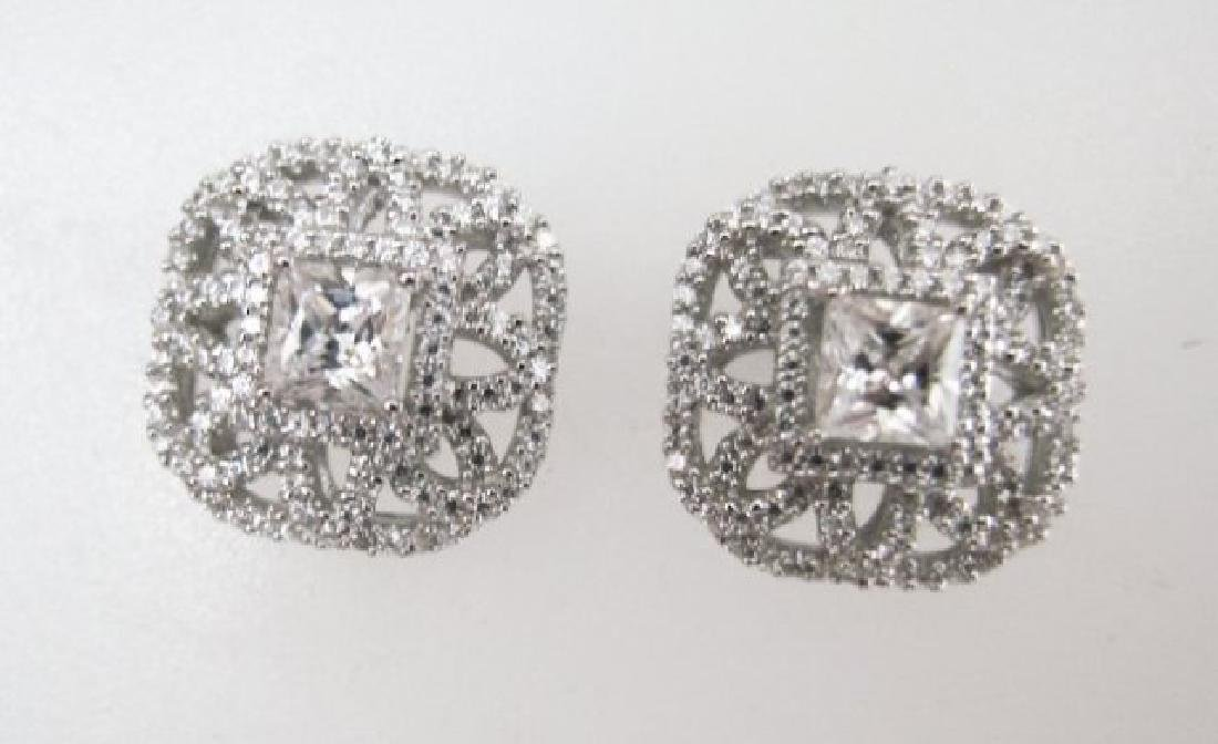Earring Diamonds Creation 3.25ct 18k W/g Overlay - 2