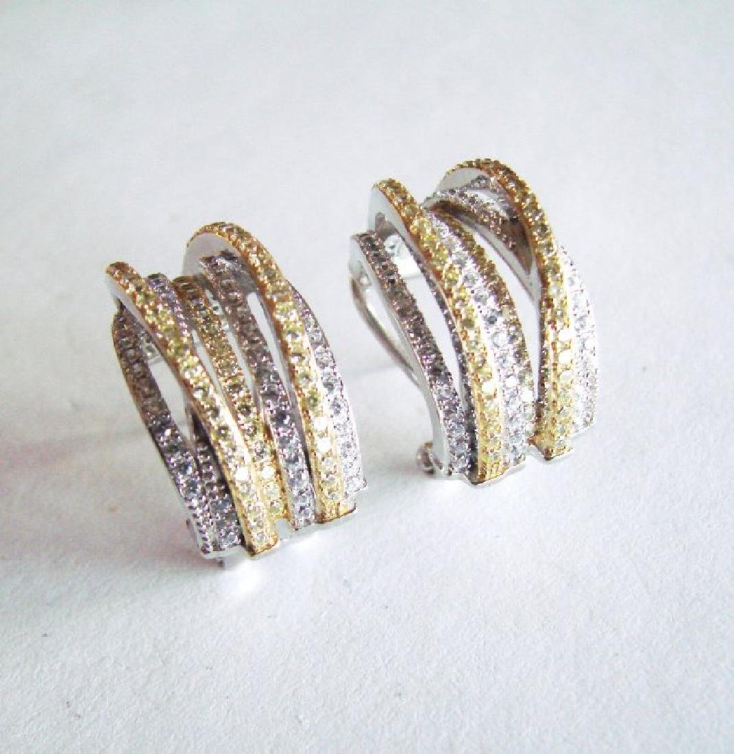Earrings Creation Diamond Two Tone 4.36Ct 18k W/Y Over