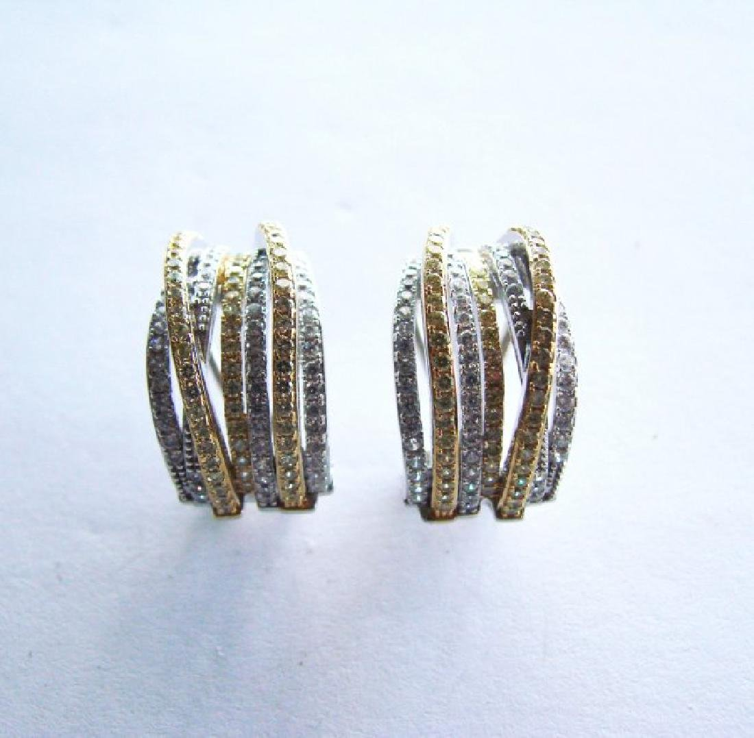 Earrings Creation Diamond Two Tone 4.36Ct 18k W/Y Over - 2