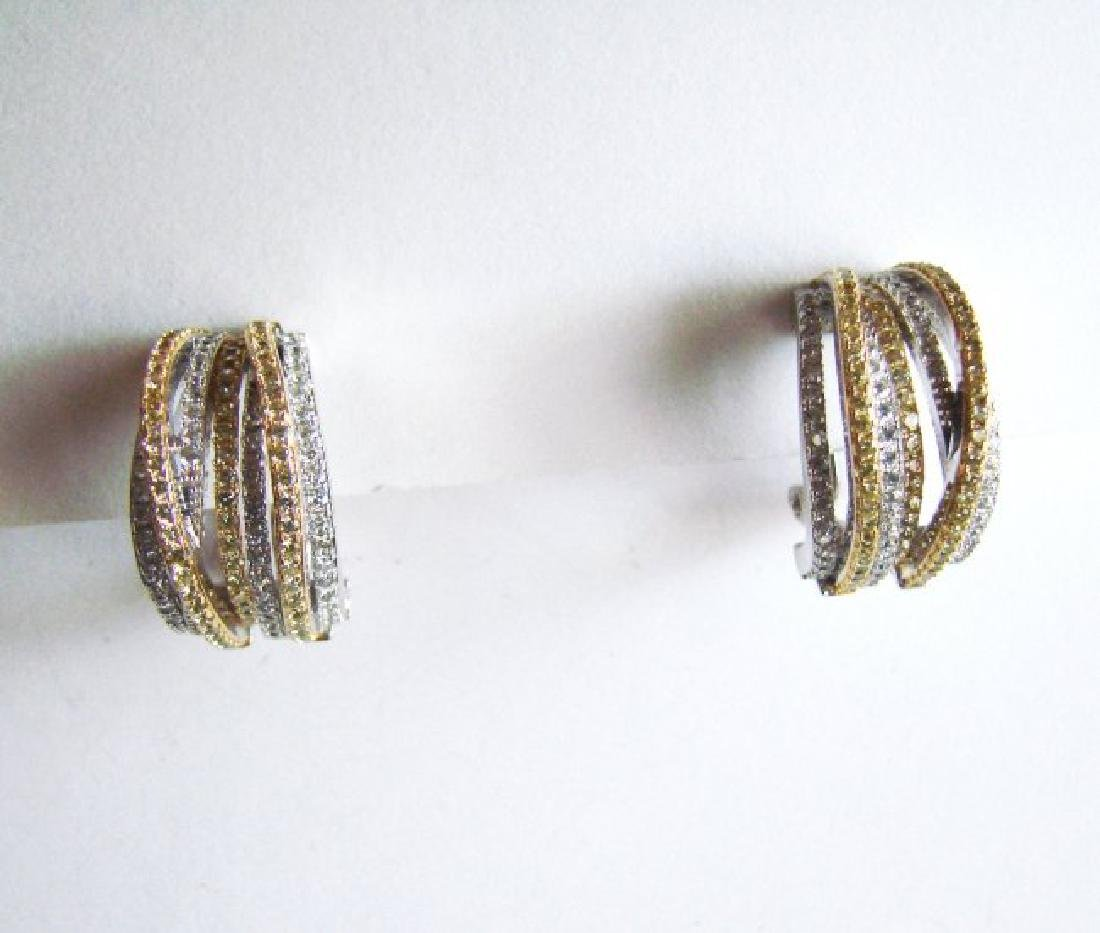 Earrings Creation Diamond Two Tone 4.36Ct 18k W/Y Over - 3