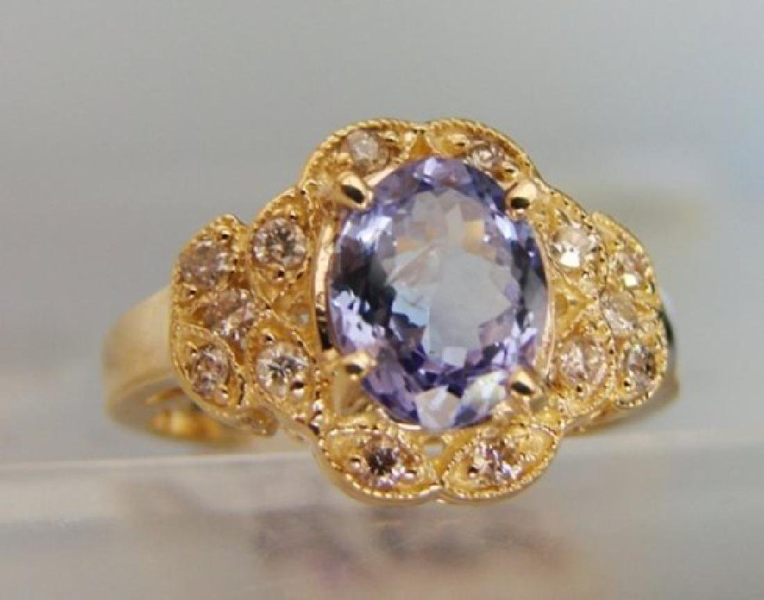 Nature Tanzanite & Diamond Ring 3.60Ct 14k Y/g