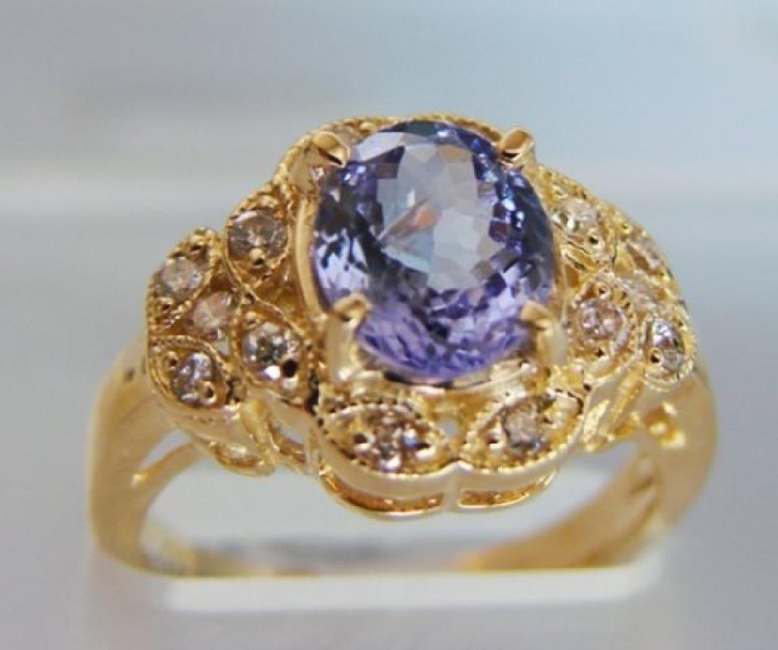 Nature Tanzanite & Diamond Ring 3.60Ct 14k Y/g - 2
