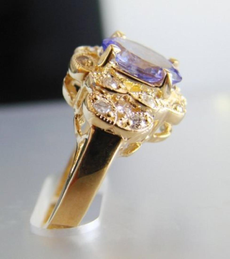 Nature Tanzanite & Diamond Ring 3.60Ct 14k Y/g - 3