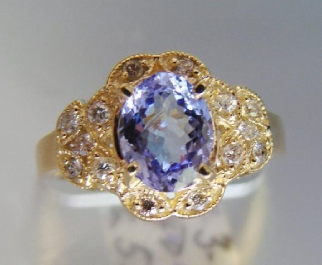 Nature Tanzanite & Diamond Ring 3.60Ct 14k Y/g - 4