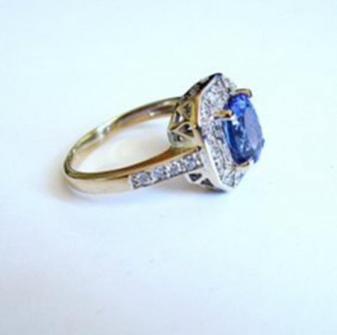 Nature Tanzanite & Diamond Ring 4.87Ct 14k Y/g - 4