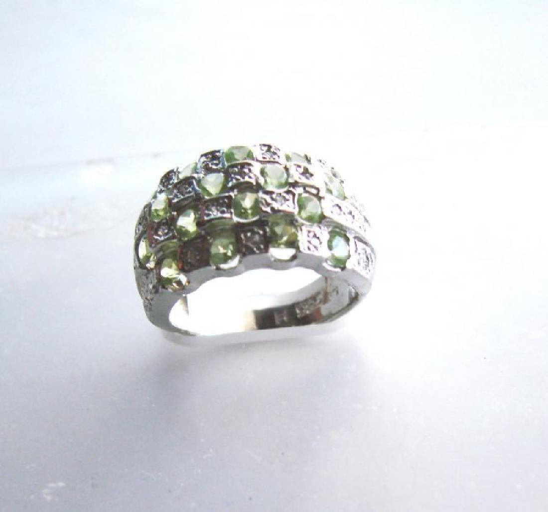 Natural Peridot Creation Dia Ring 2.66Ct 18k W/g Overl - 2