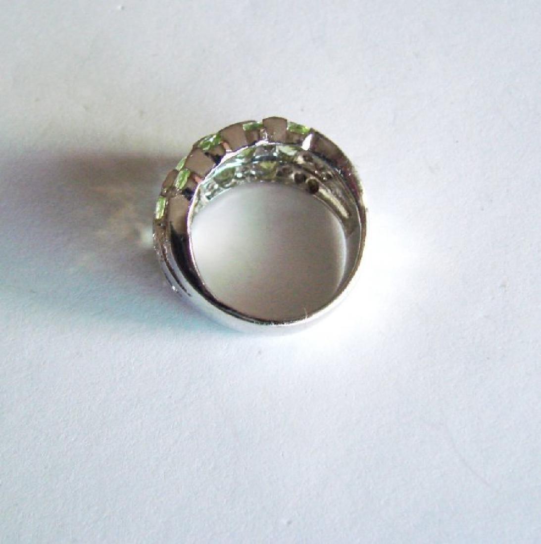 Natural Peridot Creation Dia Ring 2.66Ct 18k W/g Overl - 4