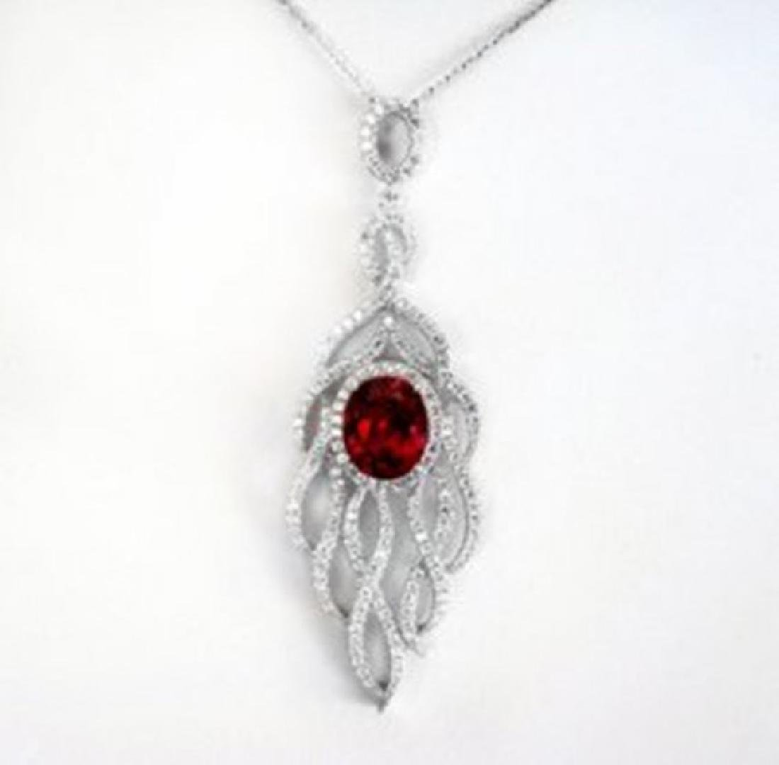 Creation Daimond Ruby Pendant 8.25Ct 18k W/g Overlay - 2