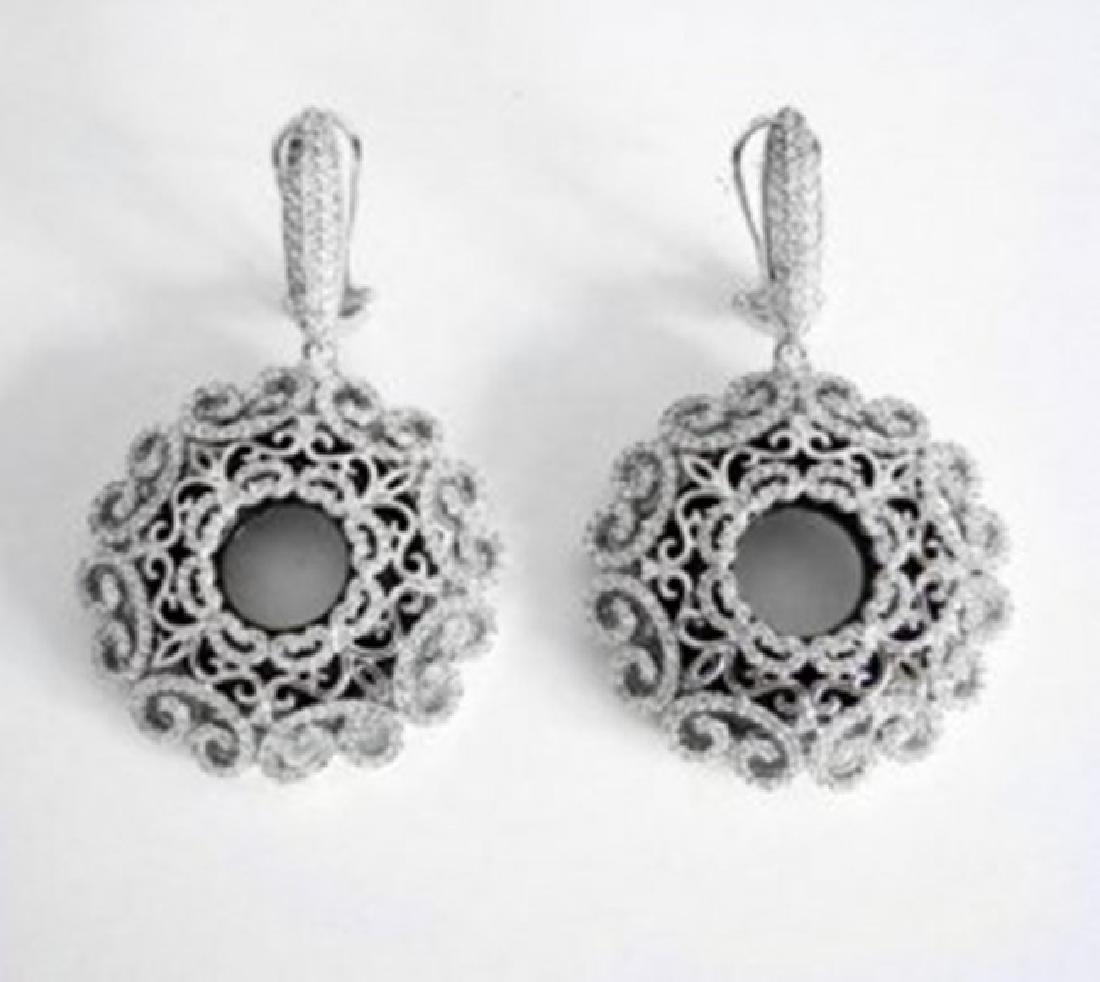Creation Diamond Chandeliers Earr 24.99Ct 18k W/g Over