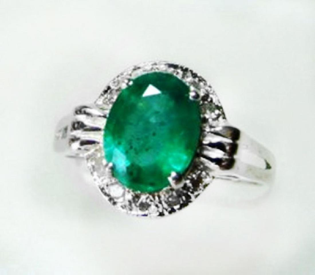 Natural Emerald & Diamond Ring 1.95Ct 14k W/g