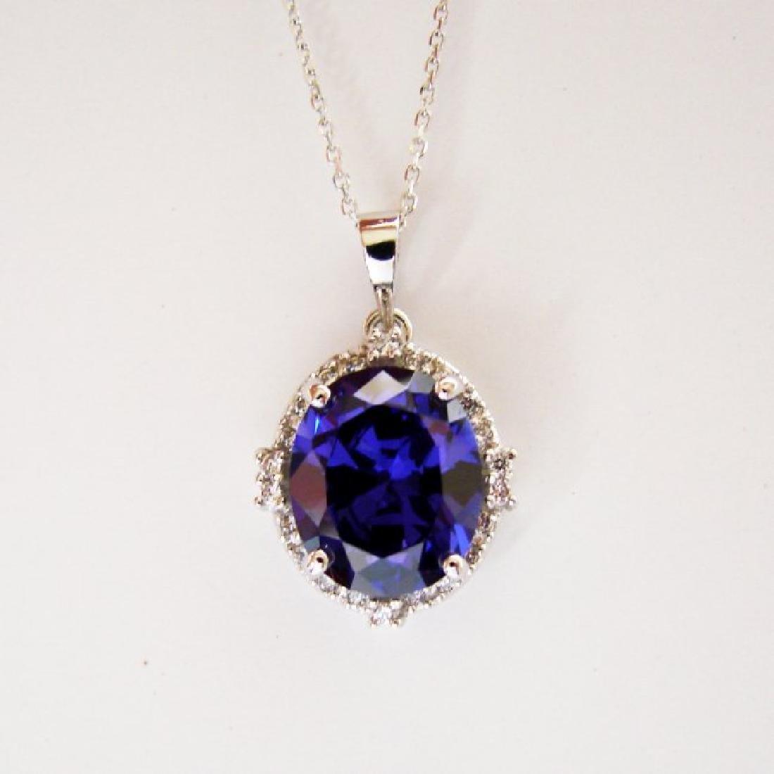 Creation Diamond/Tanzanite Pendant 7.72Ct 18k W/g