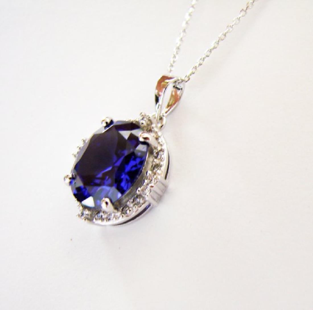 Creation Diamond/Tanzanite Pendant 7.72Ct 18k W/g - 2