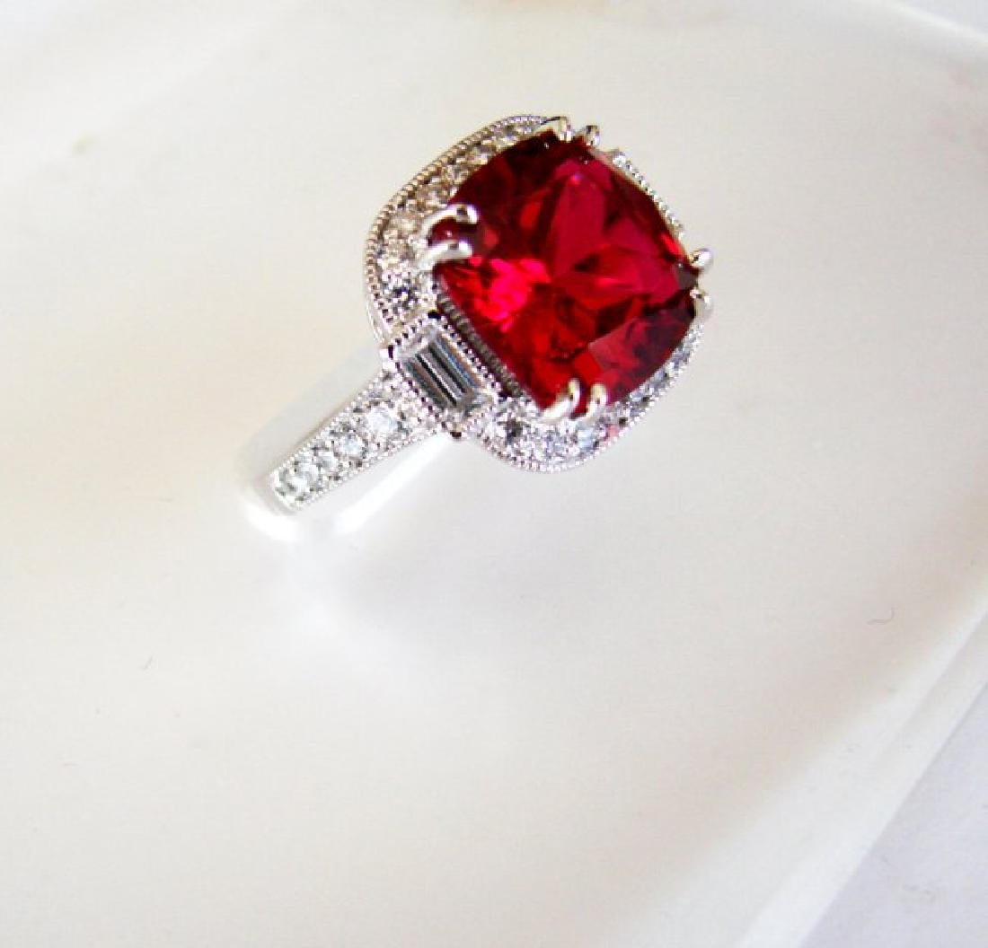 Creation Daimond Ruby Ring 7.61Ct 18k W/g Overlay - 2