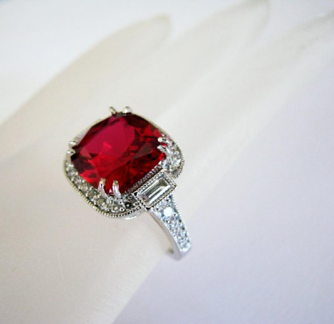 Creation Daimond Ruby Ring 7.61Ct 18k W/g Overlay - 3