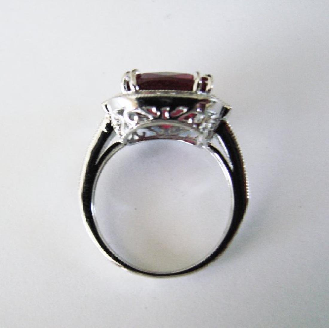Creation Daimond Ruby Ring 7.61Ct 18k W/g Overlay - 4