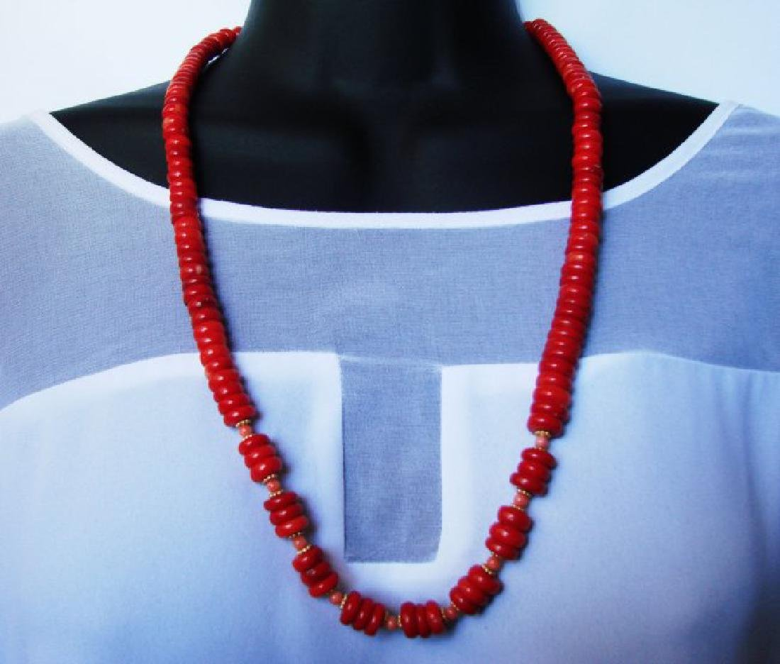 Natural Red Coral Necklace & Yellow Gold Filled Class