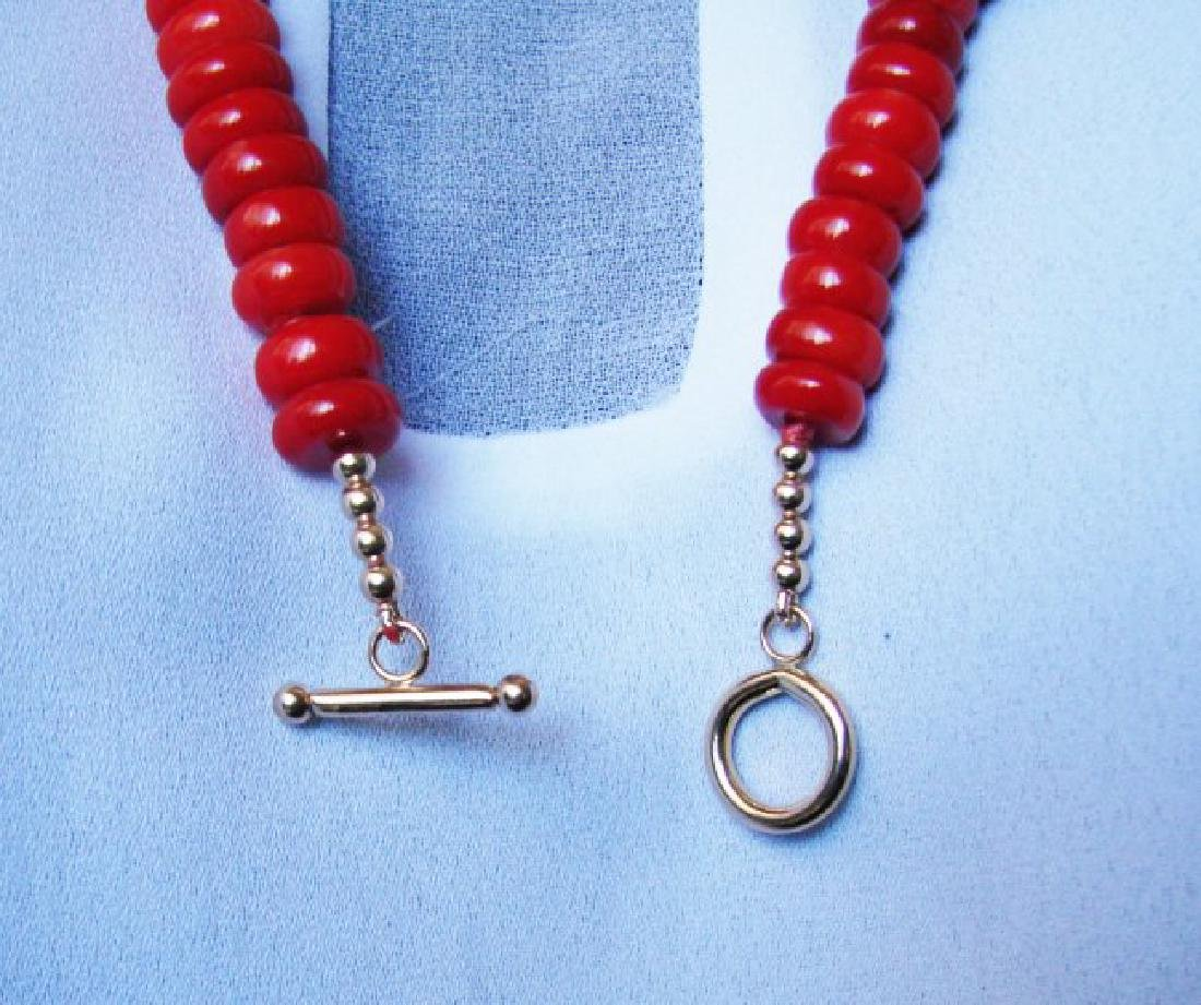 Natural Red Coral Necklace & Yellow Gold Filled Class - 3