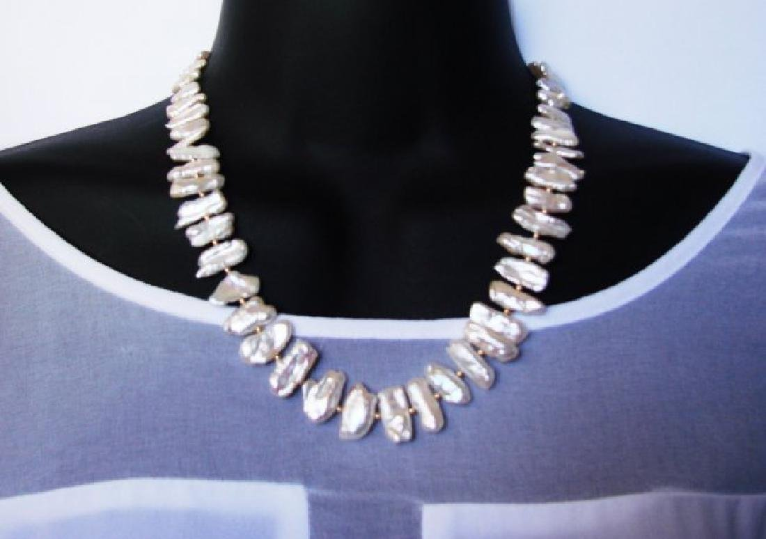 Freshwater Keshi Pearl Necklace with 14k Y/G Clasp