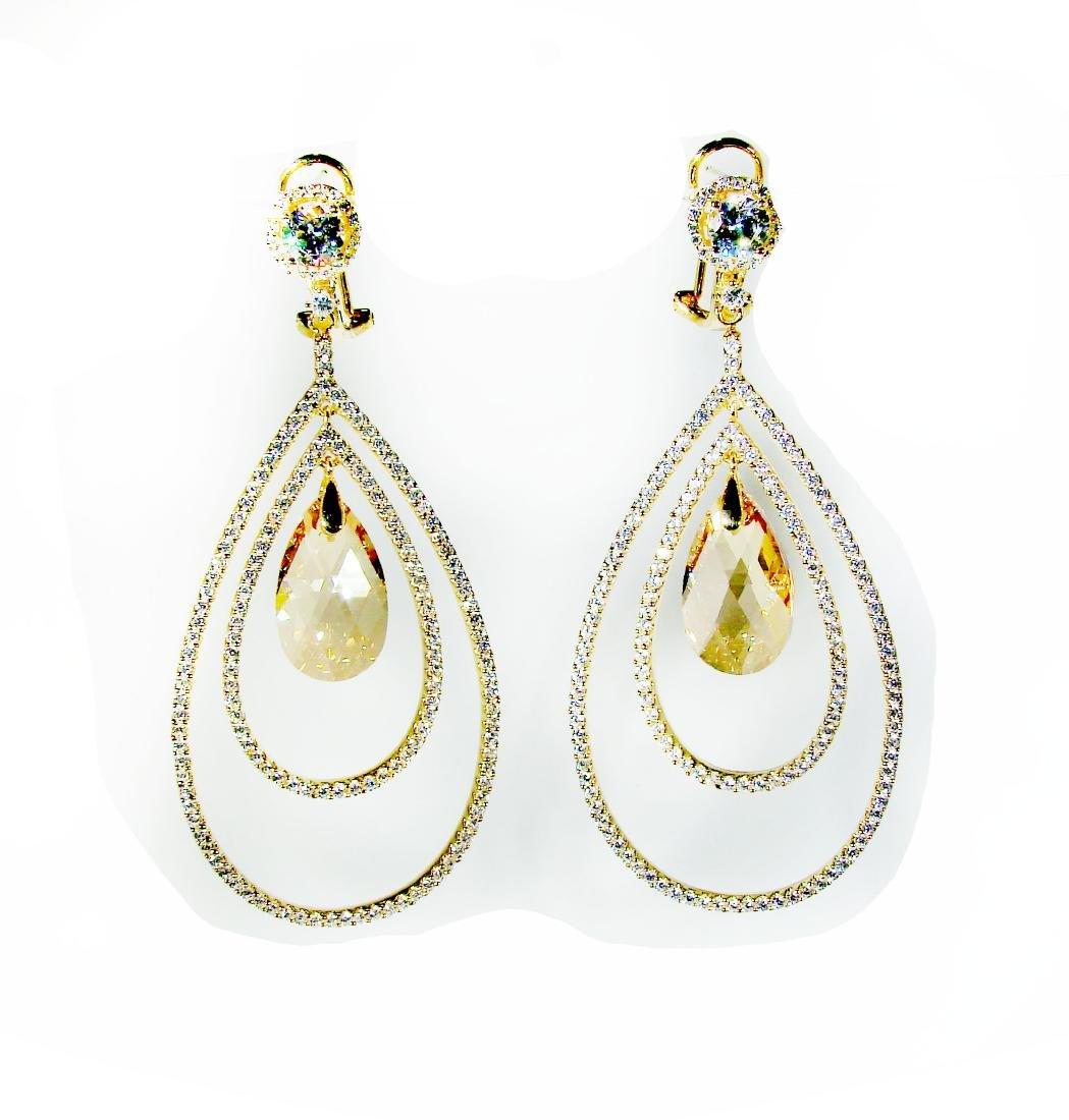 Creation Citrine /Diamond Earrings 8.09Ct 18k Y/g Overl
