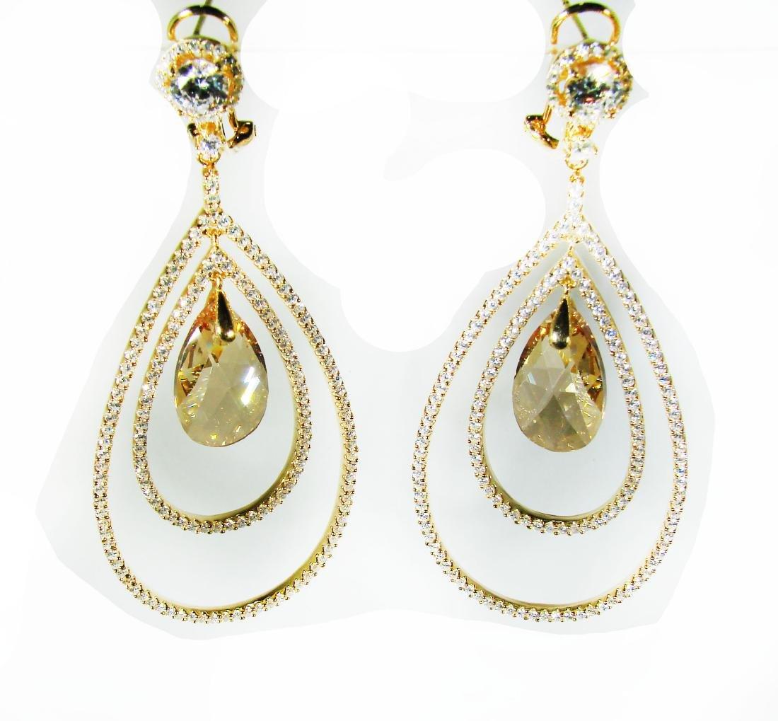 Creation Citrine /Diamond Earrings 8.09Ct 18k Y/g Overl - 2