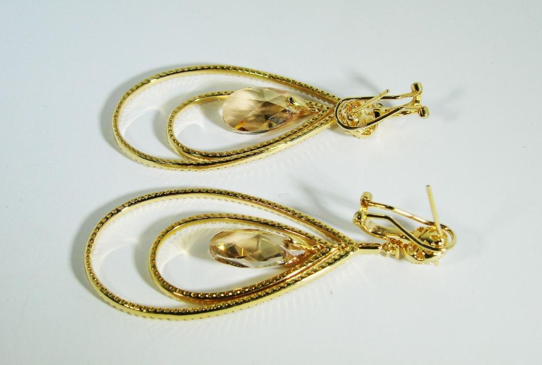 Creation Citrine /Diamond Earrings 8.09Ct 18k Y/g Overl - 3