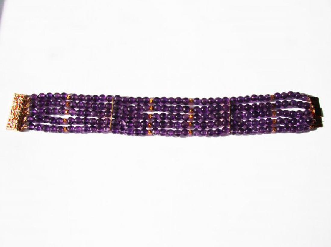 5 Layer Amethyst Bead Bracelet with Gold Filled Clasp - 2