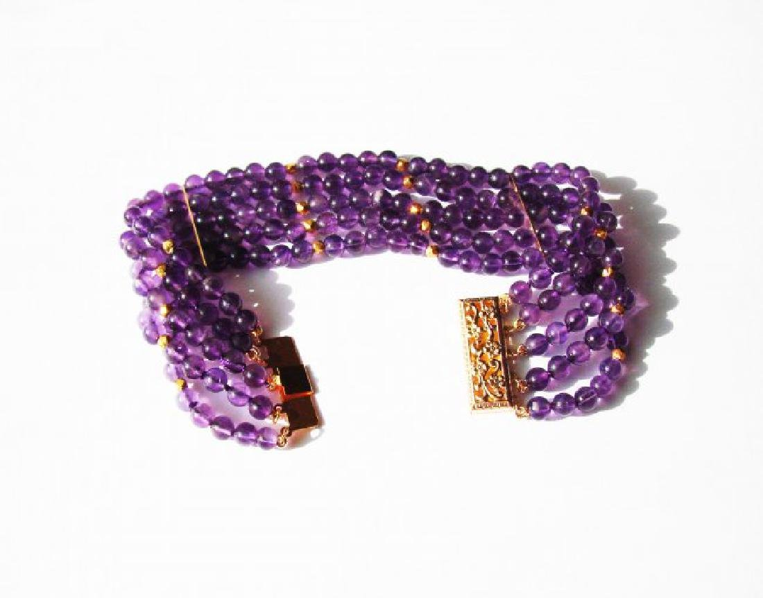 5 Layer Amethyst Bead Bracelet with Gold Filled Clasp - 3