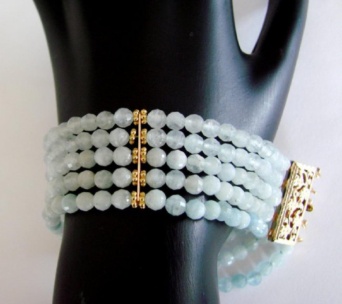 5 Lays Aquamarine Bracelet with Y/Gold Filled