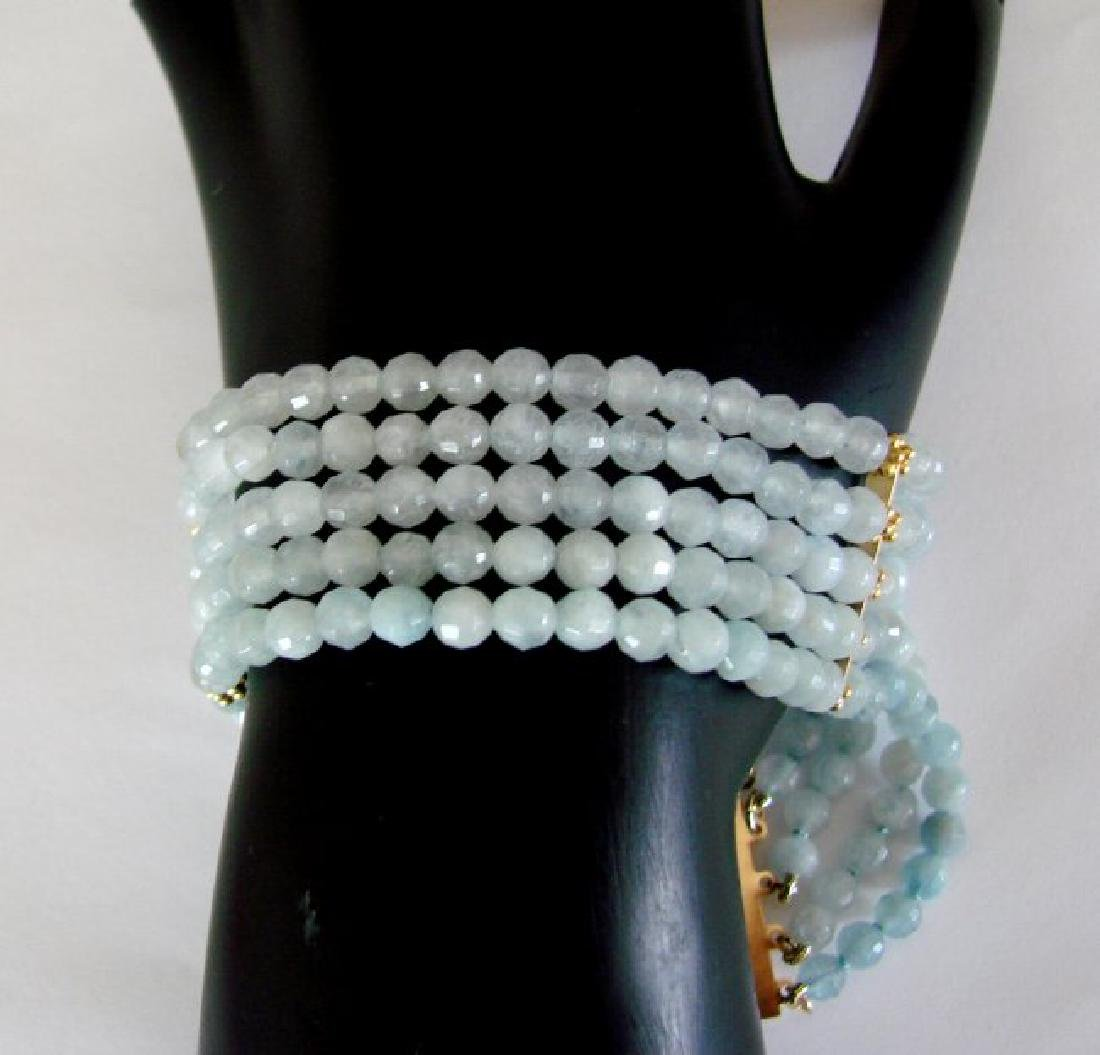 5 Lays Aquamarine Bracelet with Y/Gold Filled - 2