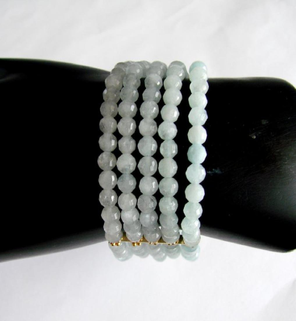 5 Lays Aquamarine Bracelet with Y/Gold Filled - 3