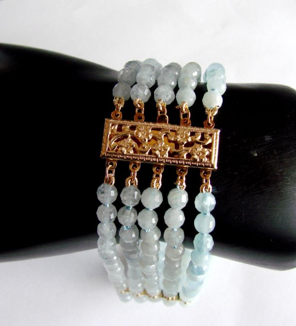 5 Lays Aquamarine Bracelet with Y/Gold Filled - 4
