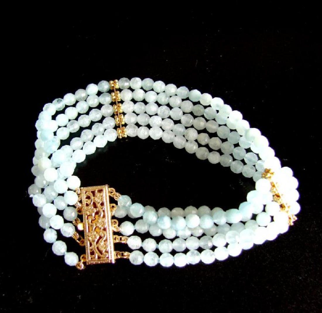5 Lays Aquamarine Bracelet with Y/Gold Filled - 5