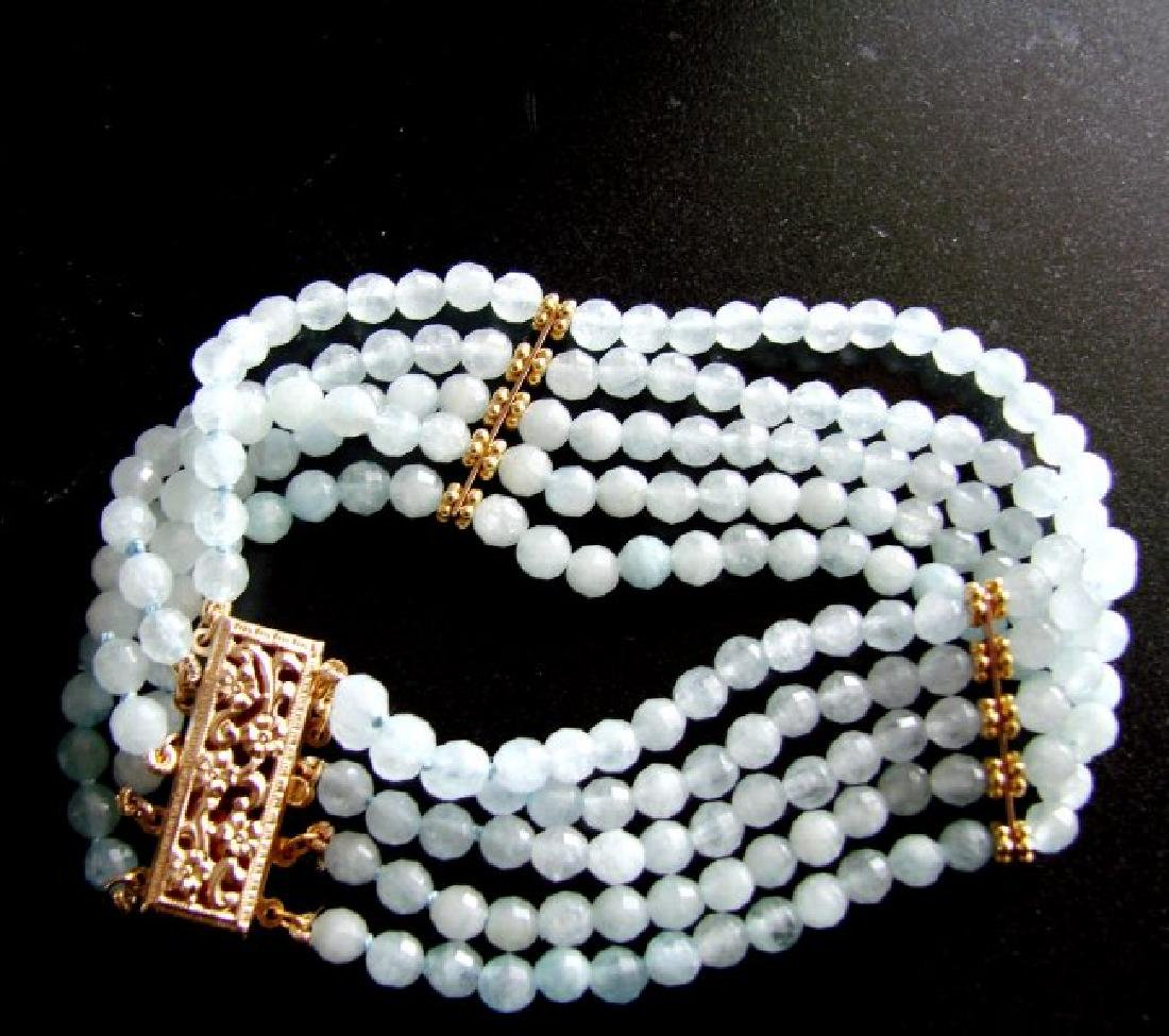5 Lays Aquamarine Bracelet with Y/Gold Filled - 6