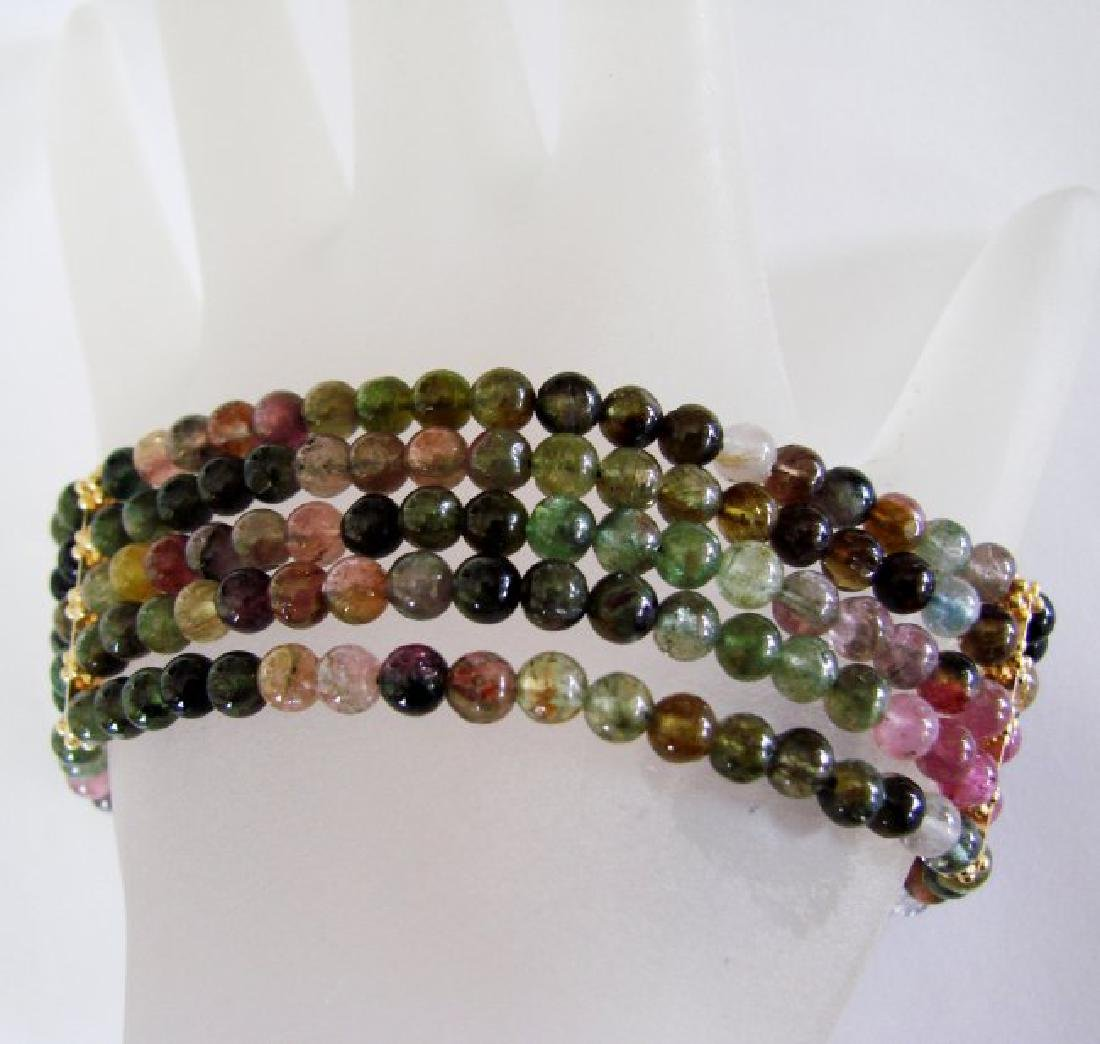 5 Lays Multicolored Tourmaline Bracelet with Y/G Filled