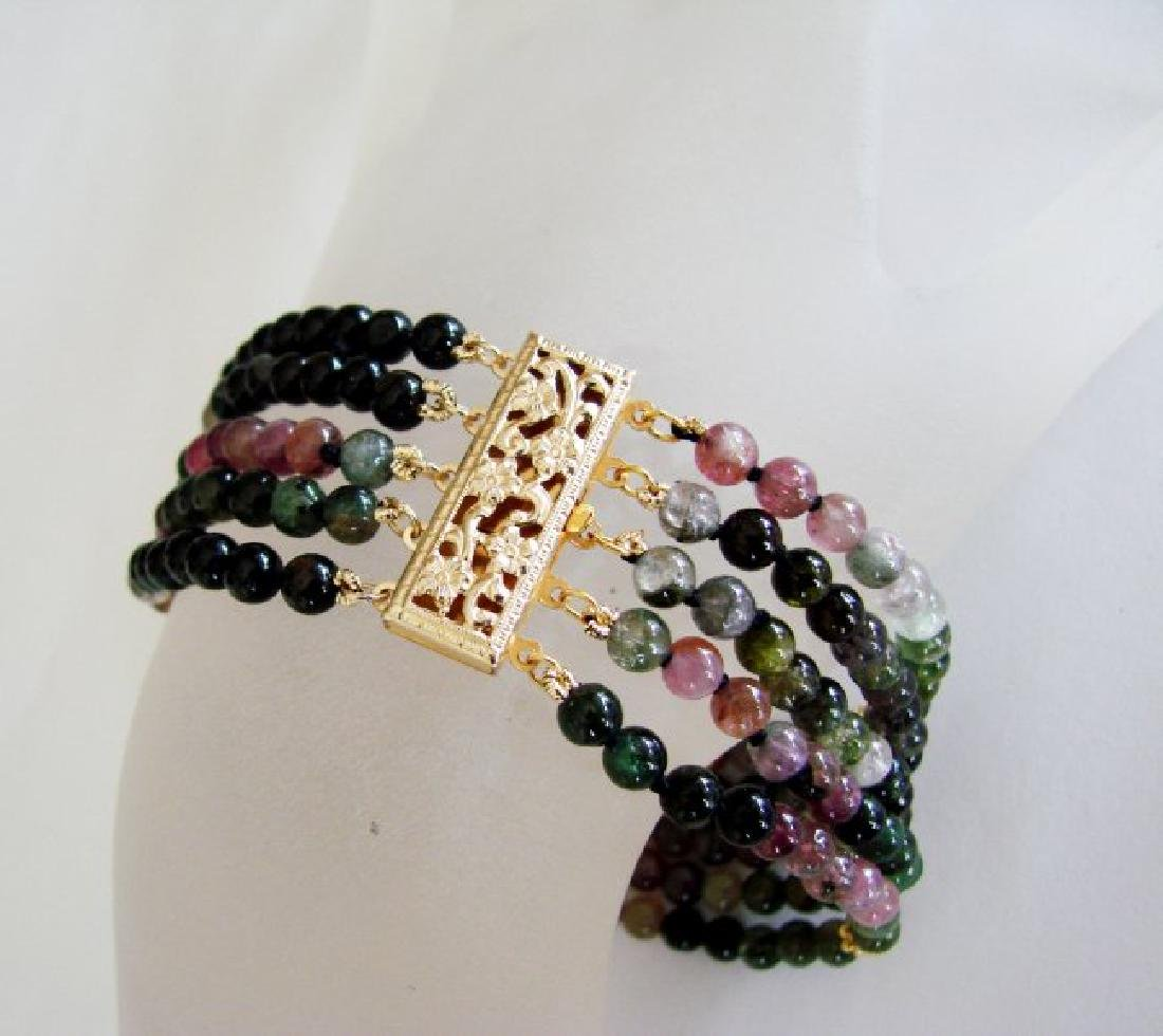 5 Lays Multicolored Tourmaline Bracelet with Y/G Filled - 2