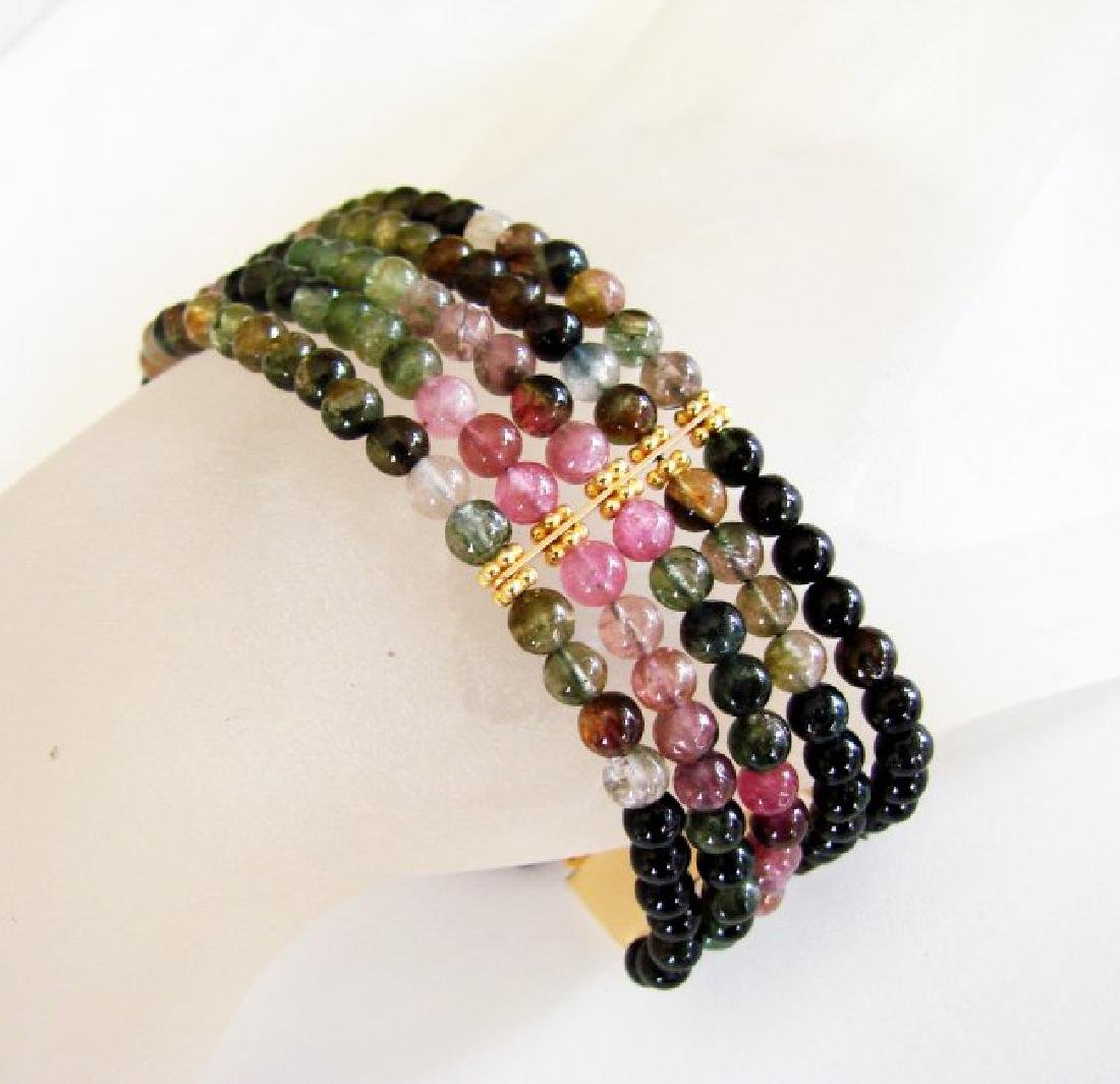 5 Lays Multicolored Tourmaline Bracelet with Y/G Filled - 3