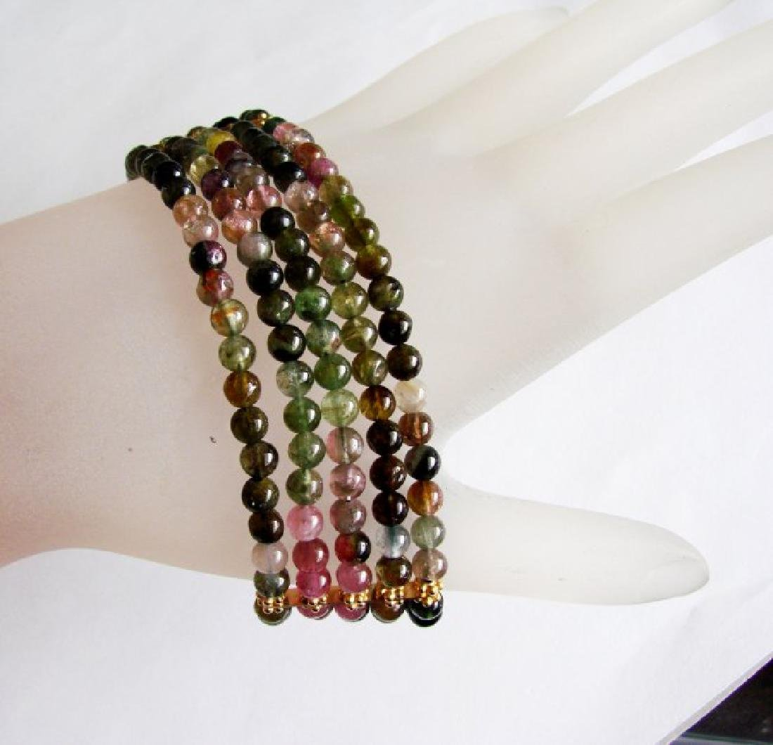 5 Lays Multicolored Tourmaline Bracelet with Y/G Filled - 4