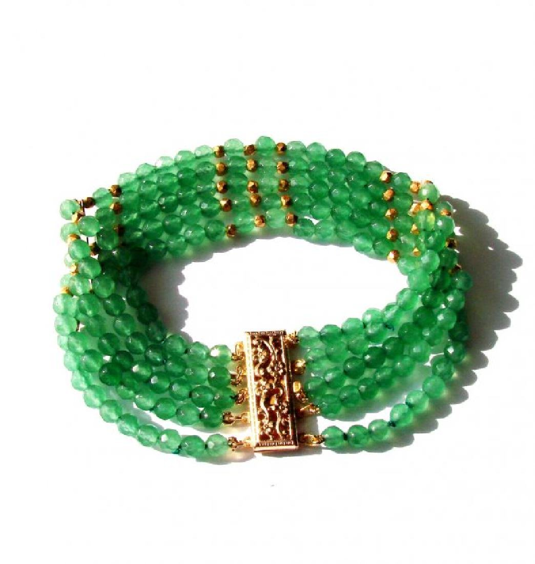 5 Layer Amazonite Bead Bracelet Gold Filled Clasp
