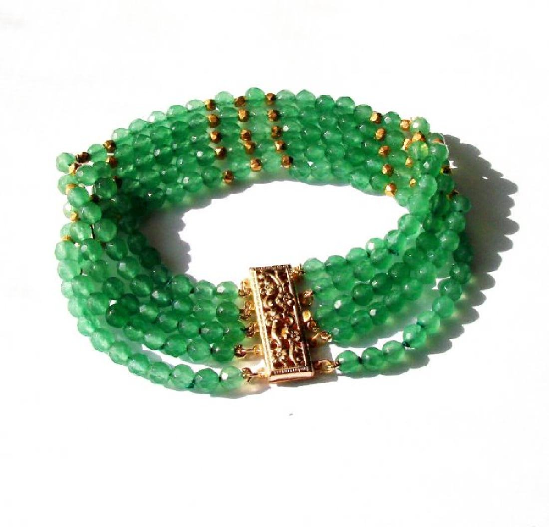 5 Layer Amazonite Bead Bracelet Gold Filled Clasp - 2