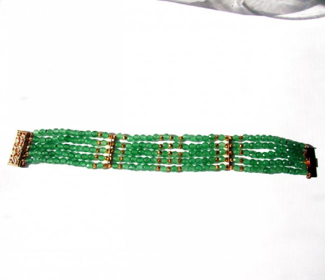 5 Layer Amazonite Bead Bracelet Gold Filled Clasp - 3