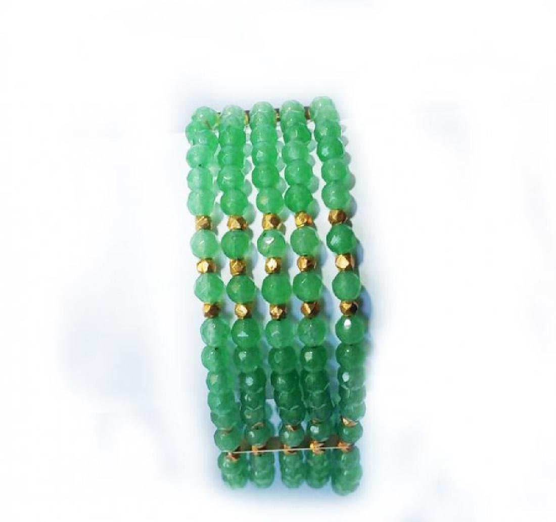 5 Layer Amazonite Bead Bracelet Gold Filled Clasp - 5