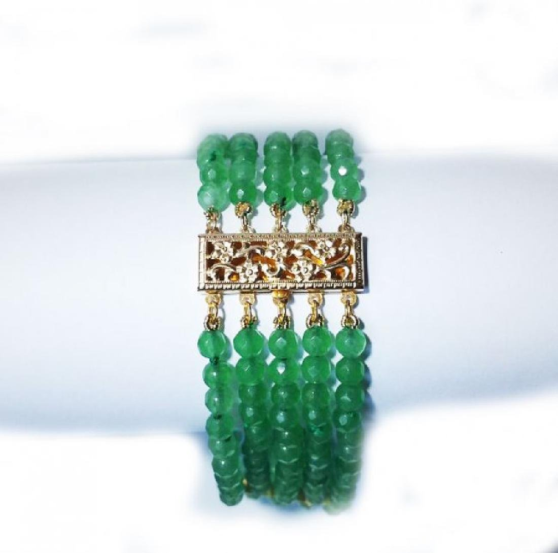 5 Layer Amazonite Bead Bracelet Gold Filled Clasp - 6