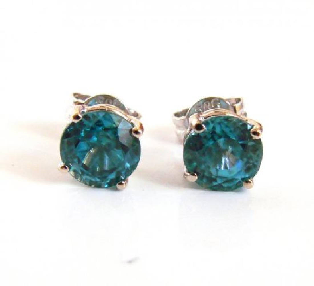 Natural Blue Zircon Earring Stud 4.15Ct 14k W/g