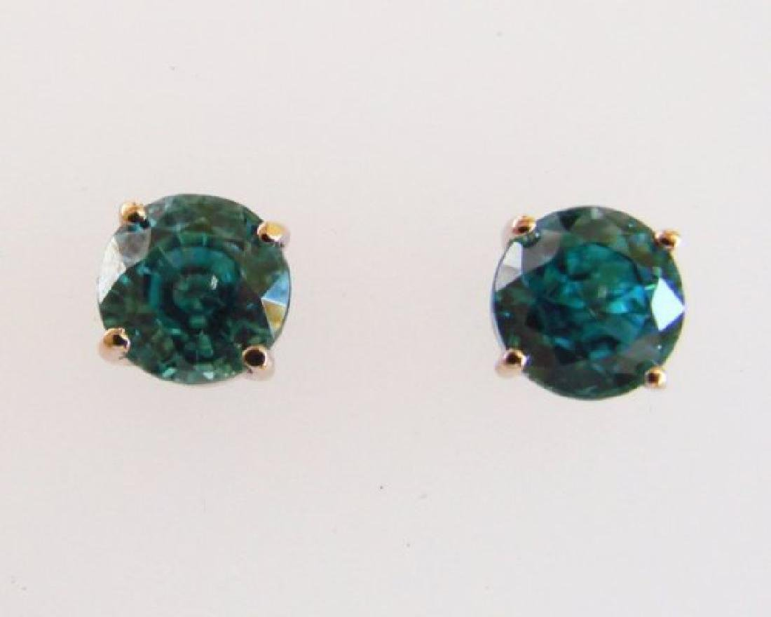 Natural Blue Zircon Earring Stud 4.15Ct 14k W/g - 2