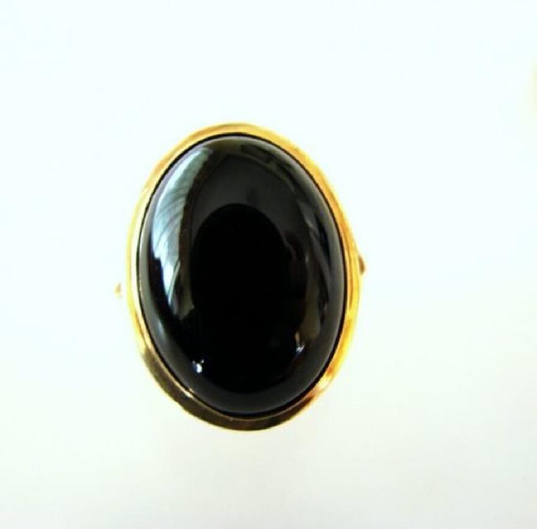 Onyx Cabochon Oval Ring 12.40Carat 14K Y/g