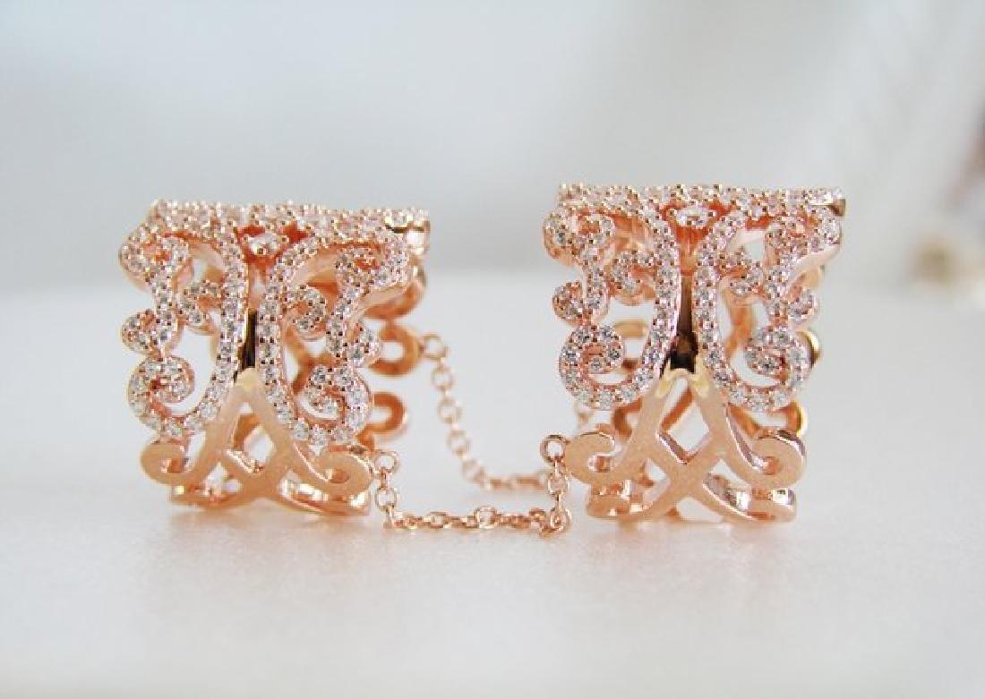Creation Diamond Stacked Rings 5.12 Ct 18K R/g Overlay - 4
