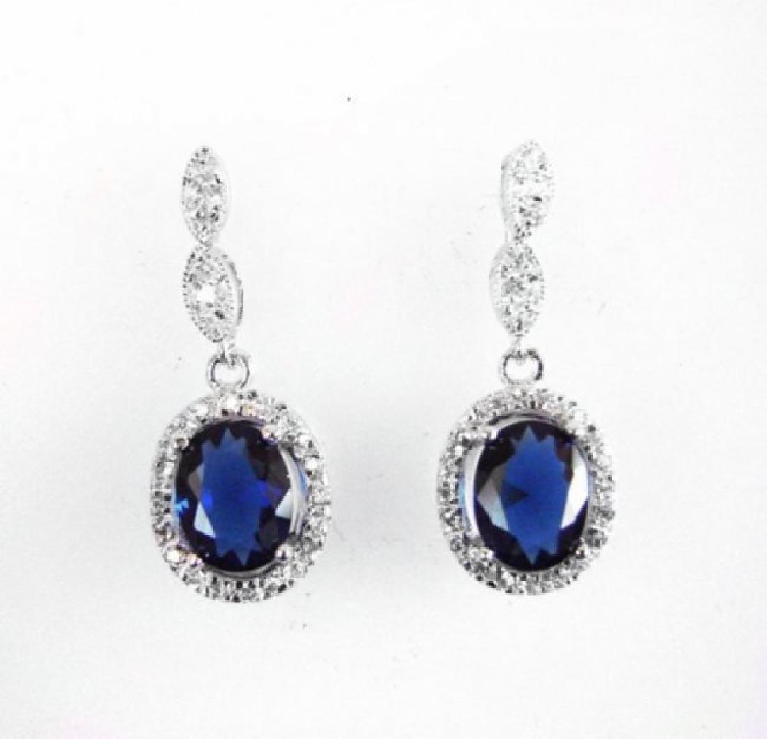 Creation Diamond/Blue Sapphire Ear 3.00Ct 18k W/g Over